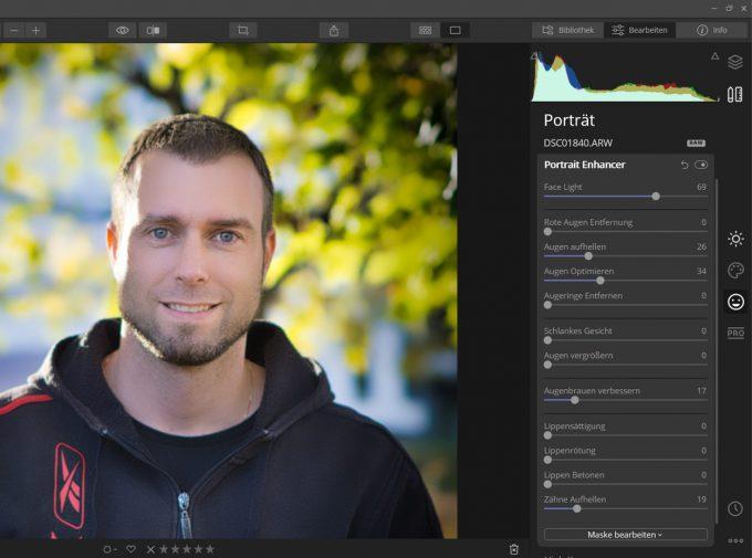 Portrait Enhancer Einstellungen