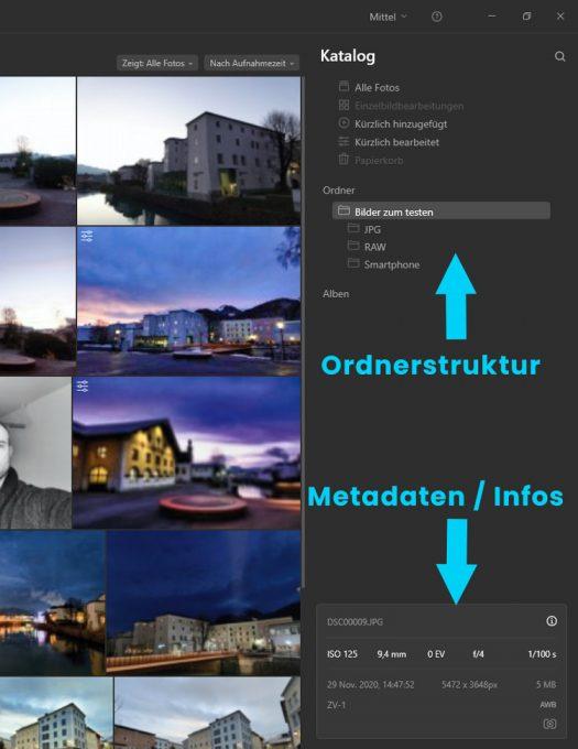 Katalog / Bildverwaltung von Luminar AI